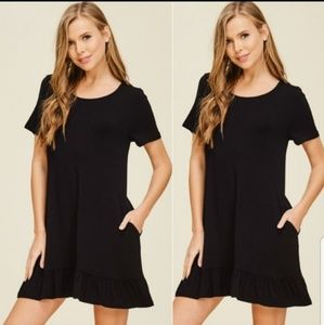 Ruffle Hem Tunic Dress With Pockets
